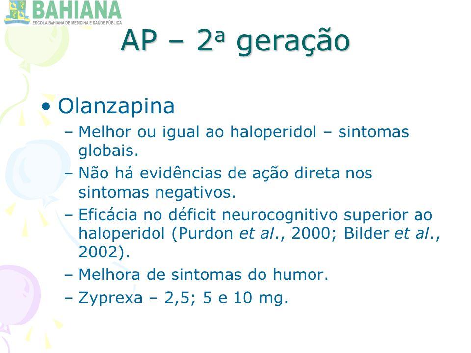 AP – 2 a geração Olanzapina –Melhor ou igual ao haloperidol – sintomas globais.