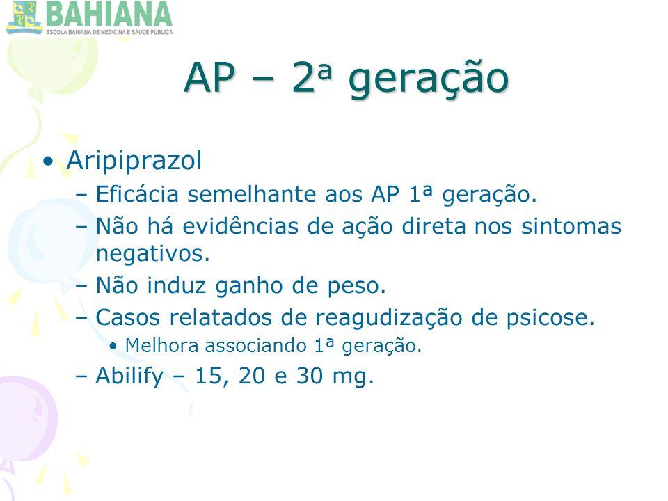 AP – 2 a geração Aripiprazol –Eficácia semelhante aos AP 1ª geração.