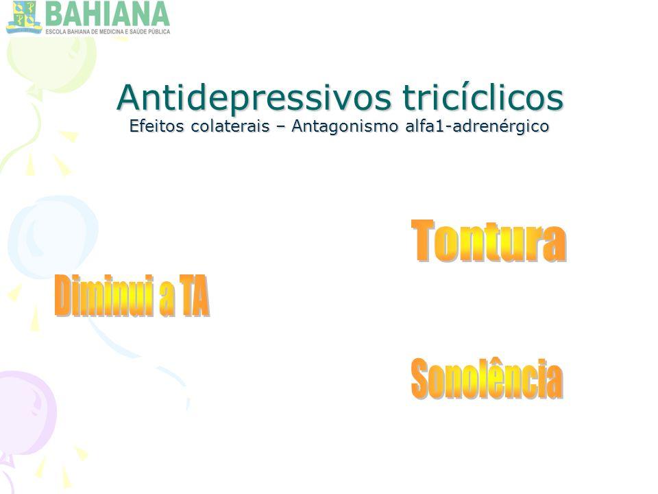 Antidepressivos tricíclicos Efeitos colaterais – Antagonismo alfa1-adrenérgico