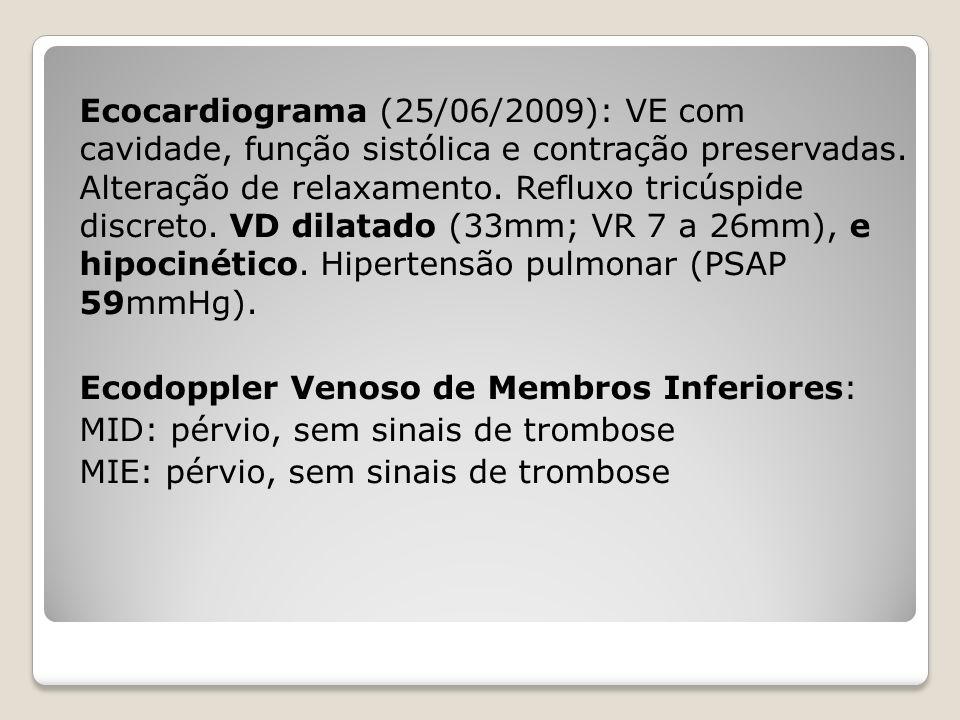 Ecocardiograma (25/06/2009): VE com cavidade, função sistólica e contração preservadas. Alteração de relaxamento. Refluxo tricúspide discreto. VD dila