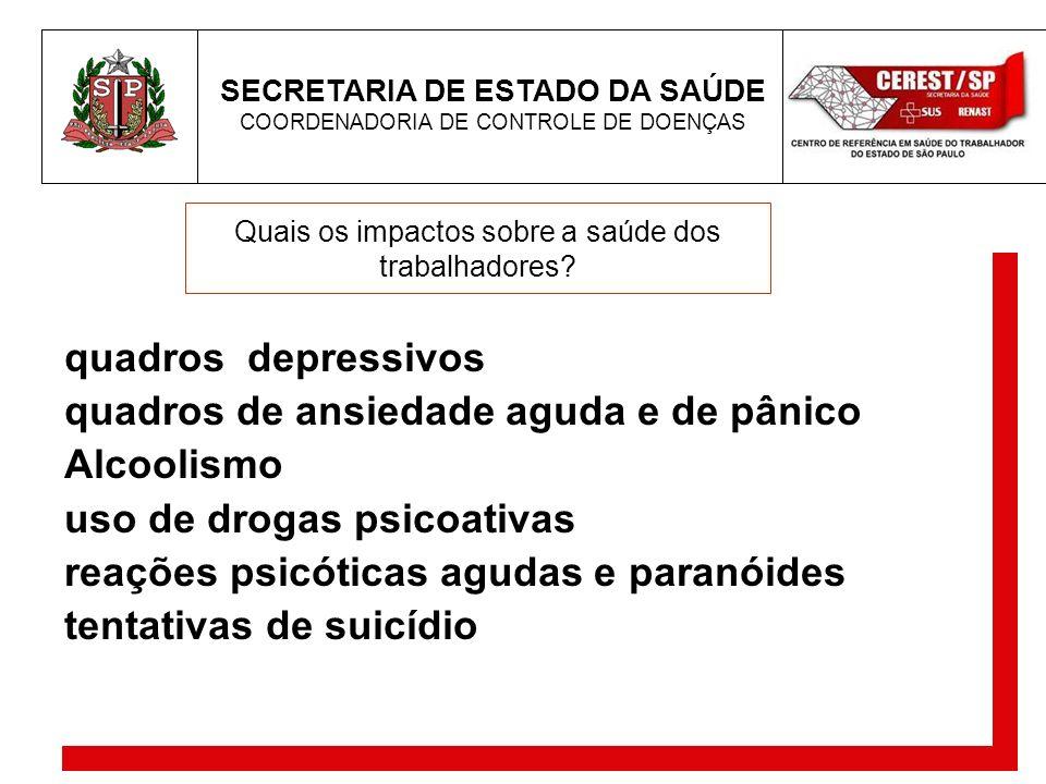 SECRETARIA DE ESTADO DA SAÚDE COORDENADORIA DE CONTROLE DE DOENÇAS Quais os impactos sobre a saúde dos trabalhadores? quadros depressivos quadros de a