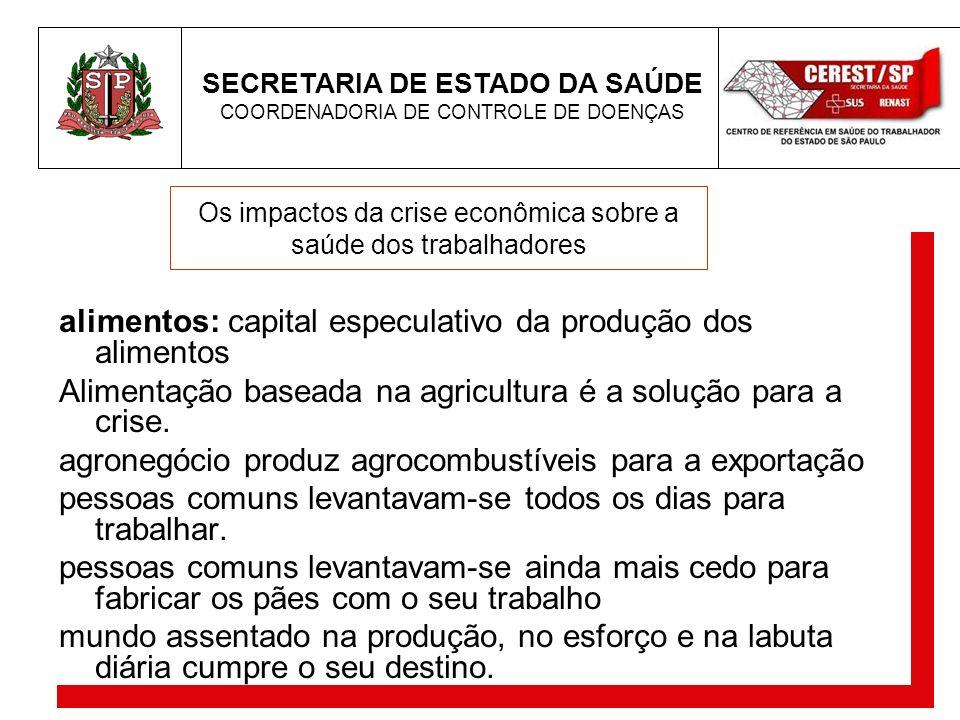 SECRETARIA DE ESTADO DA SAÚDE COORDENADORIA DE CONTROLE DE DOENÇAS Os impactos da crise econômica sobre a saúde dos trabalhadores alimentos: capital e
