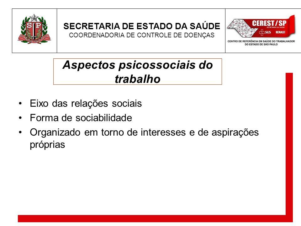 SECRETARIA DE ESTADO DA SAÚDE COORDENADORIA DE CONTROLE DE DOENÇAS Aspectos psicossociais do trabalho Eixo das relações sociais Forma de sociabilidade