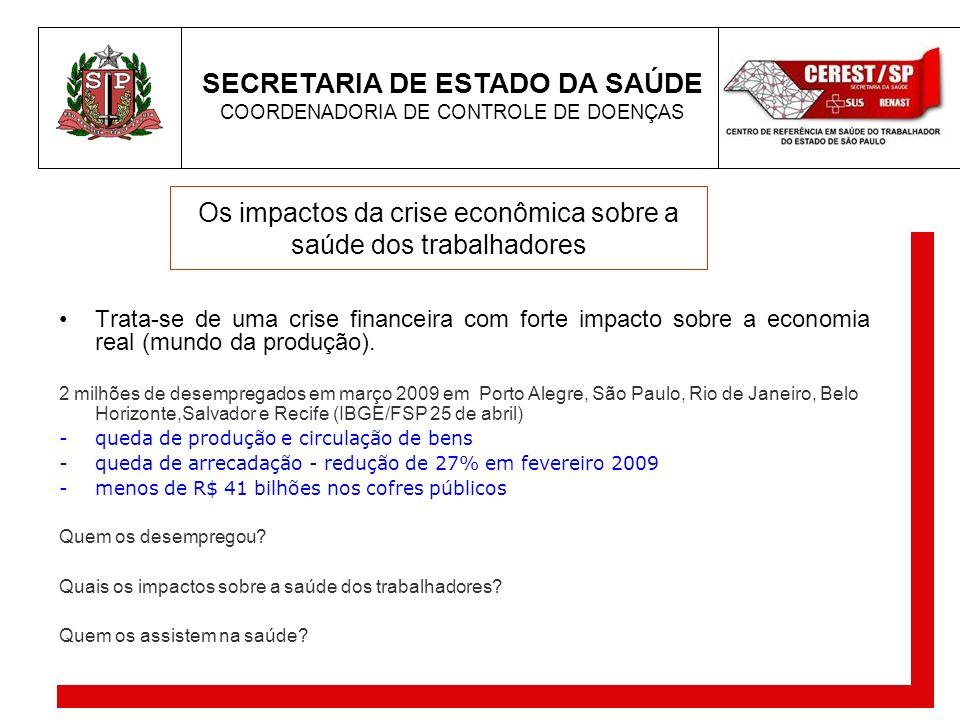 SECRETARIA DE ESTADO DA SAÚDE COORDENADORIA DE CONTROLE DE DOENÇAS Os impactos da crise econômica sobre a saúde dos trabalhadores Trata-se de uma cris