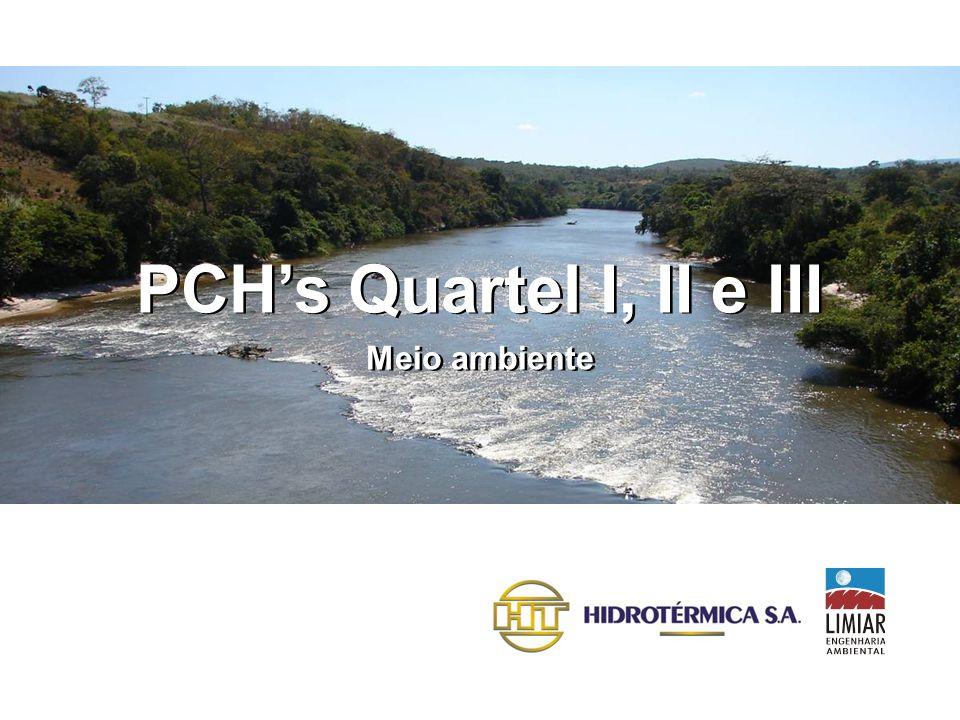 características gerais PCH QUARTEL II Potência: 30 MW < Área do Reservatório: 12 ha < Extensão do reservatório: 1.290 m < Extensão do trecho de vazão reduzida: 2.000 m < Municípios: Gouveia e Santana do Pirapama < Propriedades afetadas: Ribeirão Prata e Fazenda Duas Barras <