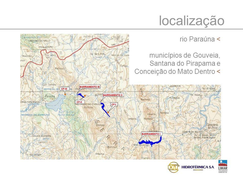 localização rio Paraúna < municípios de Gouveia, Santana do Pirapama e Conceição do Mato Dentro <