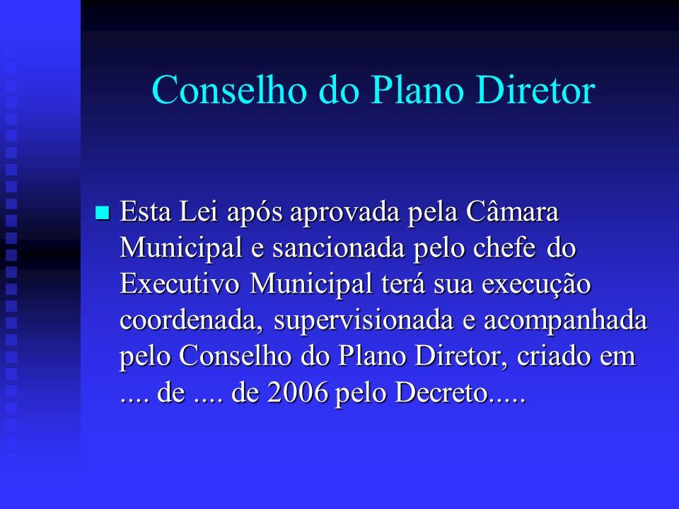 Conselho do Plano Diretor Esta Lei após aprovada pela Câmara Municipal e sancionada pelo chefe do Executivo Municipal terá sua execução coordenada, su