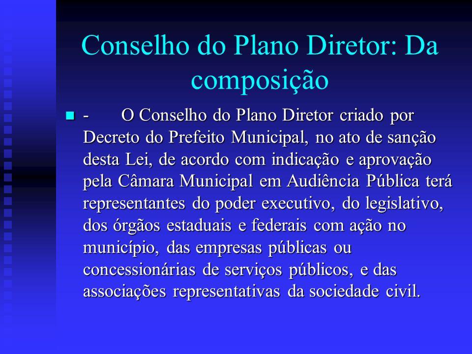 Conselho do Plano Diretor: Da composição - O Conselho do Plano Diretor criado por Decreto do Prefeito Municipal, no ato de sanção desta Lei, de acordo