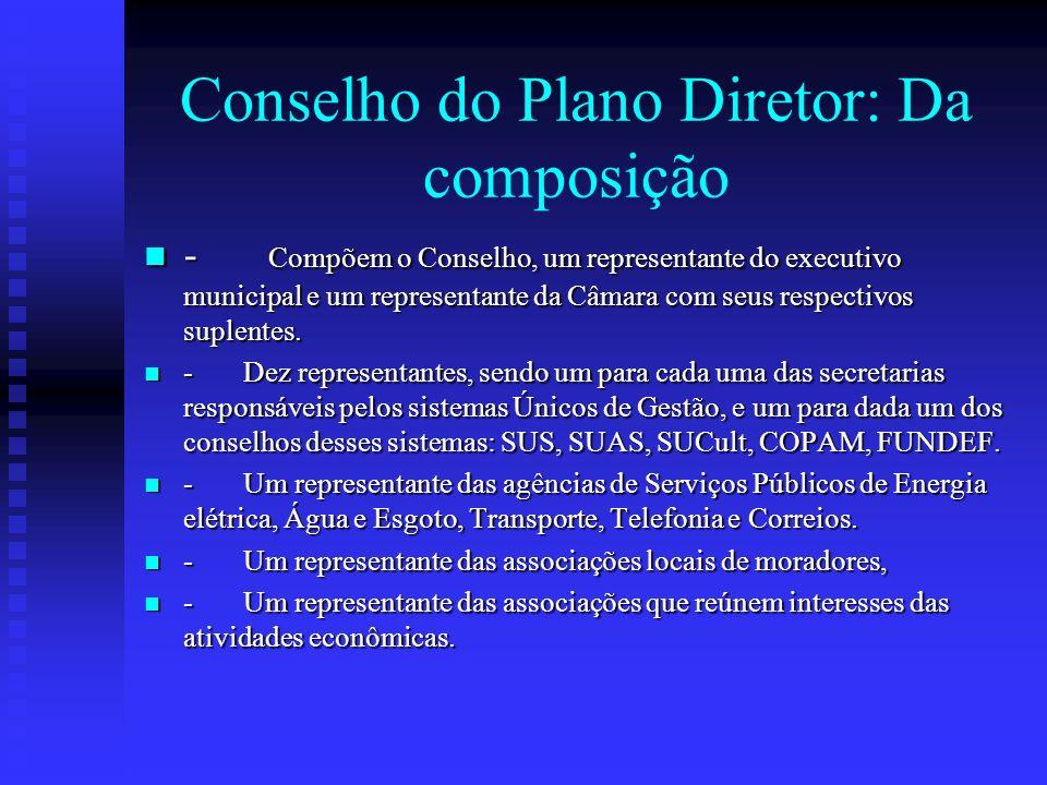 Conselho do Plano Diretor: Da composição - Compõem o Conselho, um representante do executivo municipal e um representante da Câmara com seus respectiv
