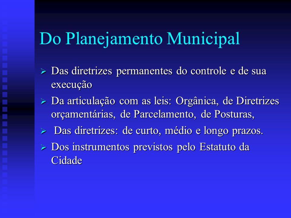 Do Planejamento Municipal Das diretrizes permanentes do controle e de sua execução Das diretrizes permanentes do controle e de sua execução Da articul