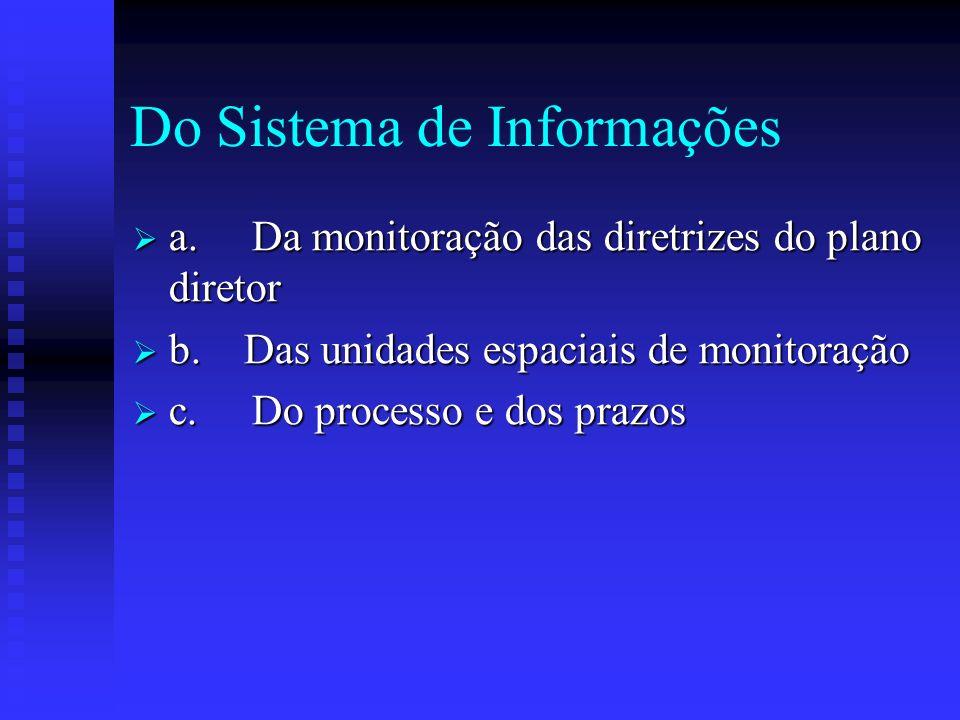 Do Sistema de Informações a. Da monitoração das diretrizes do plano diretor a. Da monitoração das diretrizes do plano diretor b. Das unidades espaciai