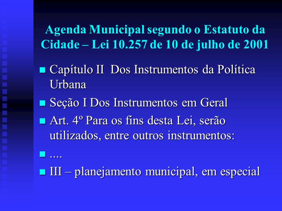 Agenda Municipal segundo o Estatuto da Cidade – Lei 10.257 de 10 de julho de 2001 Capítulo II Dos Instrumentos da Política Urbana Capítulo II Dos Inst