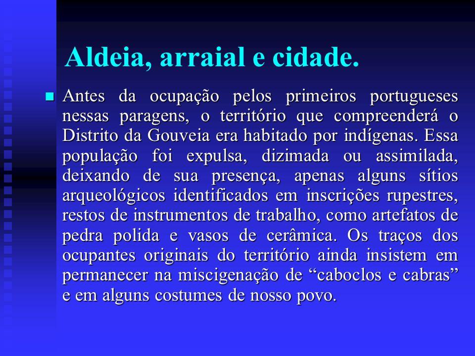 Aldeia, arraial e cidade. Antes da ocupação pelos primeiros portugueses nessas paragens, o território que compreenderá o Distrito da Gouveia era habit
