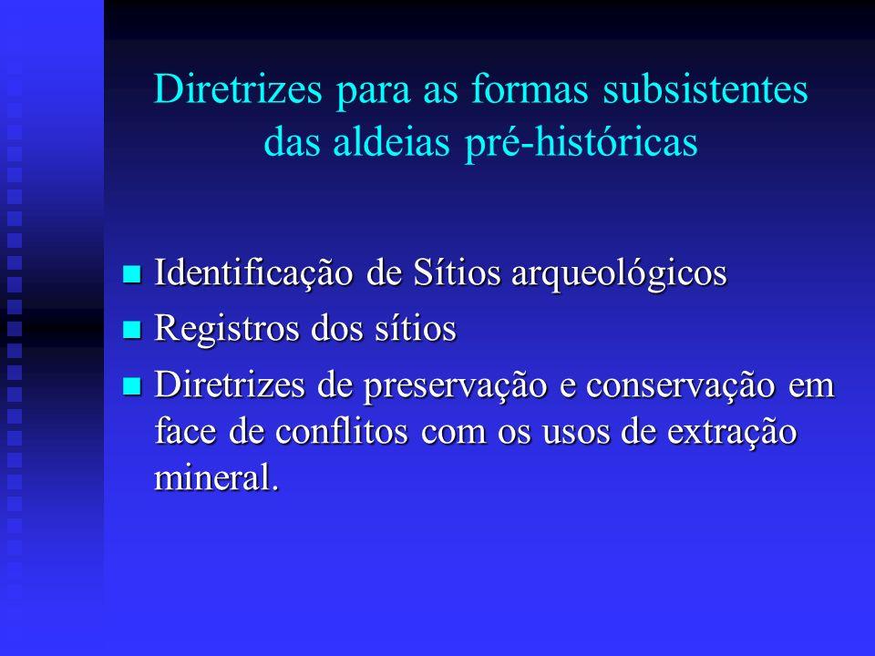 Diretrizes para as formas subsistentes das aldeias pré-históricas Identificação de Sítios arqueológicos Identificação de Sítios arqueológicos Registro