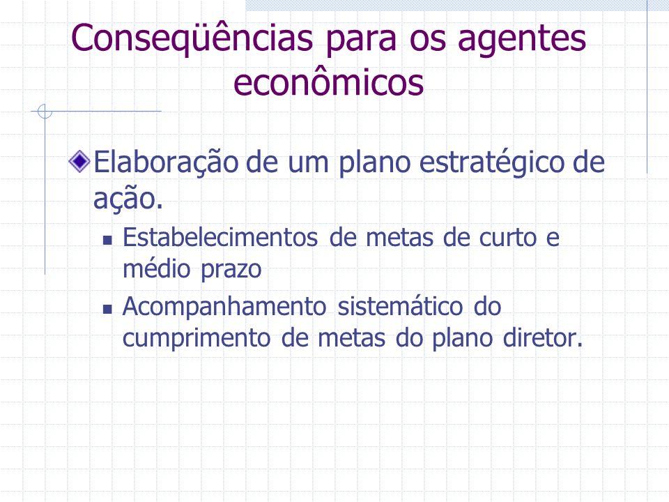 Conseqüências para os agentes econômicos Elaboração de um plano estratégico de ação.