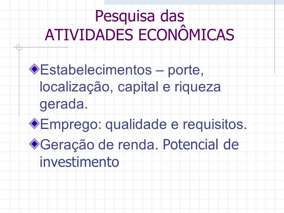 Pesquisa das ATIVIDADES ECONÔMICAS Estabelecimentos – porte, localização, capital e riqueza gerada.