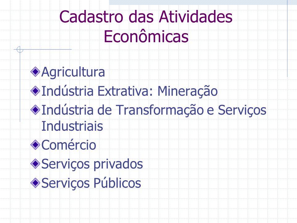 Cadastro das Atividades Econômicas Agricultura Indústria Extrativa: Mineração Indústria de Transformação e Serviços Industriais Comércio Serviços privados Serviços Públicos