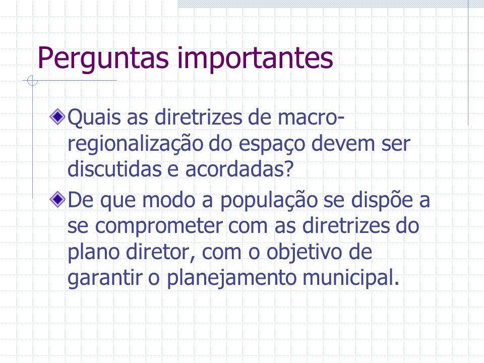 Perguntas importantes Quais as diretrizes de macro- regionalização do espaço devem ser discutidas e acordadas.