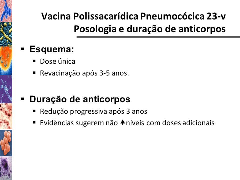 Esquema: Dose única Revacinação após 3-5 anos. Duração de anticorpos Redução progressiva após 3 anos Evidências sugerem não níveis com doses adicionai