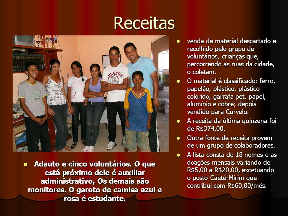 Receitas venda de material descartado e recolhido pelo grupo de voluntários, crianças que, percorrendo as ruas da cidade, o coletam.