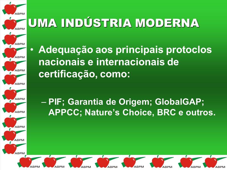 UMA INDÚSTRIA MODERNA Adequação aos principais protoclos nacionais e internacionais de certificação, como: –PIF; Garantia de Origem; GlobalGAP; APPCC;
