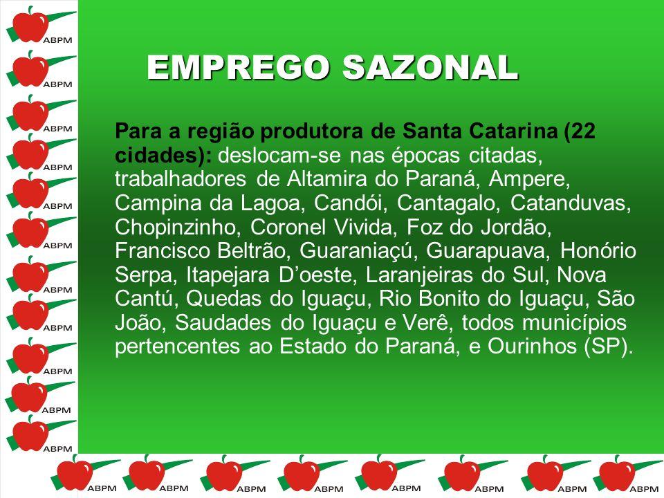 EMPREGO SAZONAL Para a região produtora de Santa Catarina (22 cidades): deslocam-se nas épocas citadas, trabalhadores de Altamira do Paraná, Ampere, C