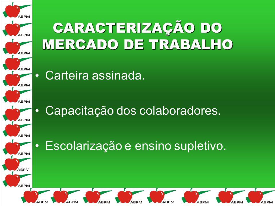 CARACTERIZAÇÃO DO MERCADO DE TRABALHO Carteira assinada. Capacitação dos colaboradores. Escolarização e ensino supletivo.