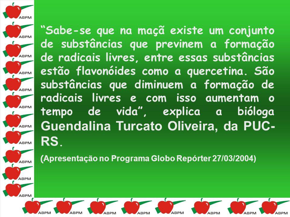 Sabe-se que na maçã existe um conjunto de substâncias que previnem a formação de radicais livres, entre essas substâncias estão flavonóides como a que