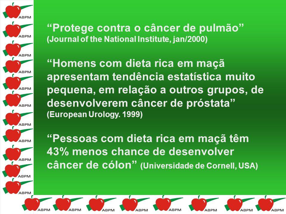 Protege contra o câncer de pulmão (Journal of the National Institute, jan/2000) Homens com dieta rica em maçã apresentam tendência estatística muito p