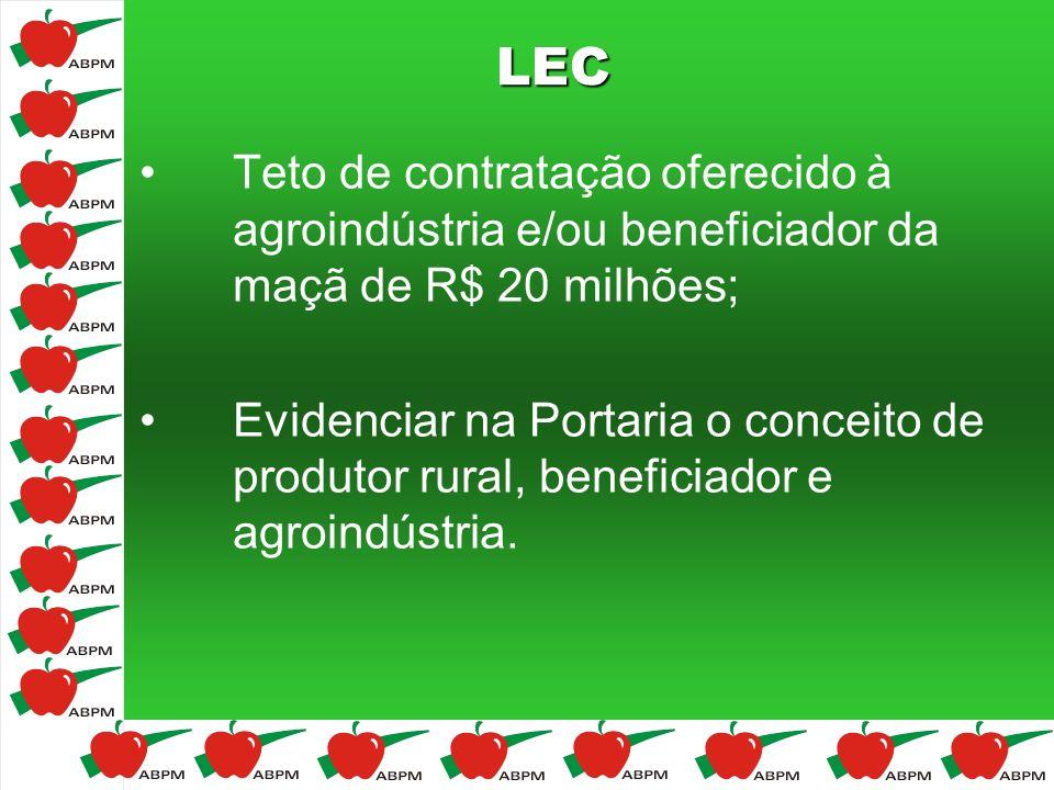 LEC Teto de contratação oferecido à agroindústria e/ou beneficiador da maçã de R$ 20 milhões; Evidenciar na Portaria o conceito de produtor rural, ben