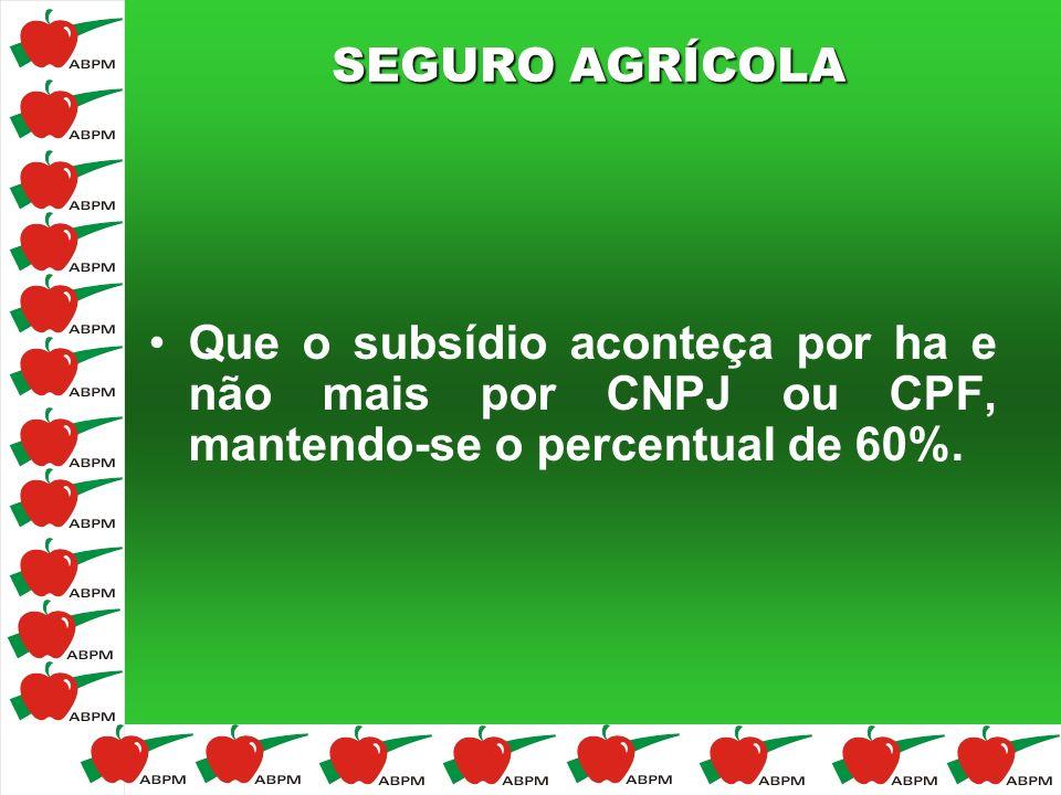 SEGURO AGRÍCOLA Que o subsídio aconteça por ha e não mais por CNPJ ou CPF, mantendo-se o percentual de 60%.