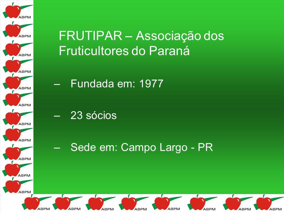 FRUTIPAR – Associação dos Fruticultores do Paraná –Fundada em: 1977 –23 sócios –Sede em: Campo Largo - PR