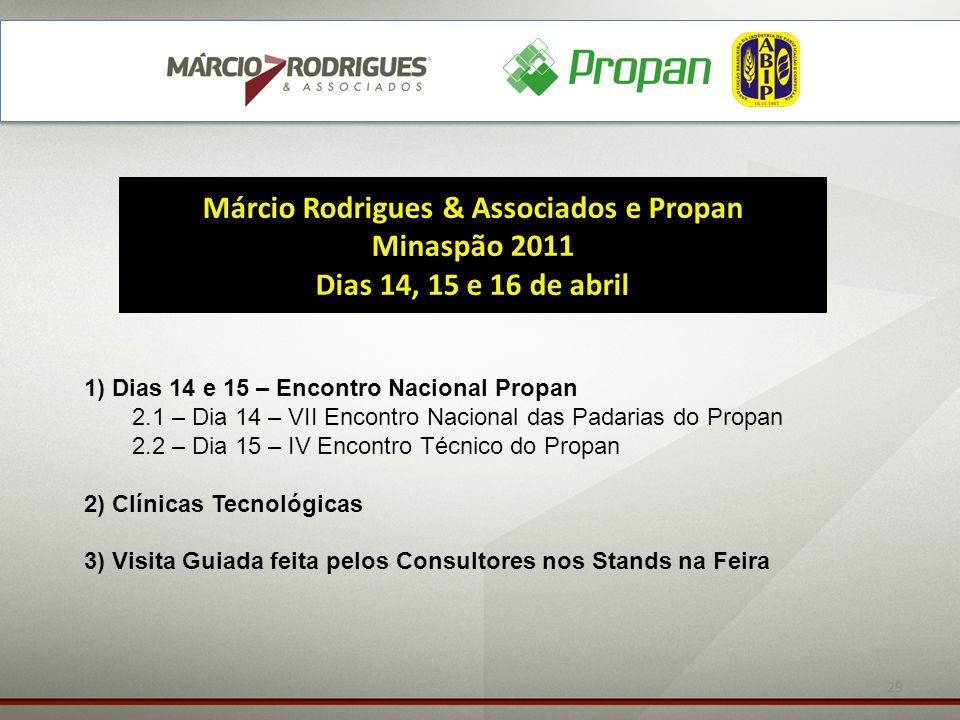 29 Márcio Rodrigues & Associados e Propan Minaspão 2011 Dias 14, 15 e 16 de abril 1) Dias 14 e 15 – Encontro Nacional Propan 2.1 – Dia 14 – VII Encont