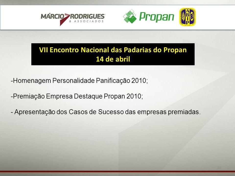 30 VII Encontro Nacional das Padarias do Propan 14 de abril -Homenagem Personalidade Panificação 2010; -Premiação Empresa Destaque Propan 2010; - Apre