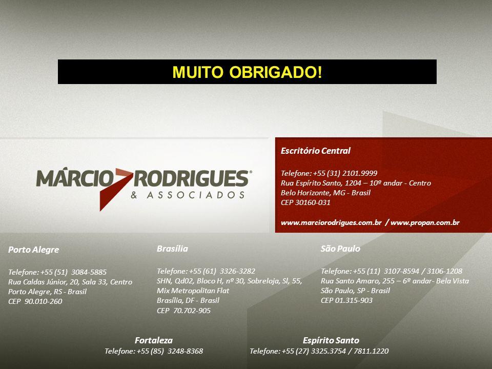 Escritório Central Telefone: +55 (31) 2101.9999 Rua Espírito Santo, 1204 – 10º andar - Centro Belo Horizonte, MG - Brasil CEP 30160-031 www.marciorodr
