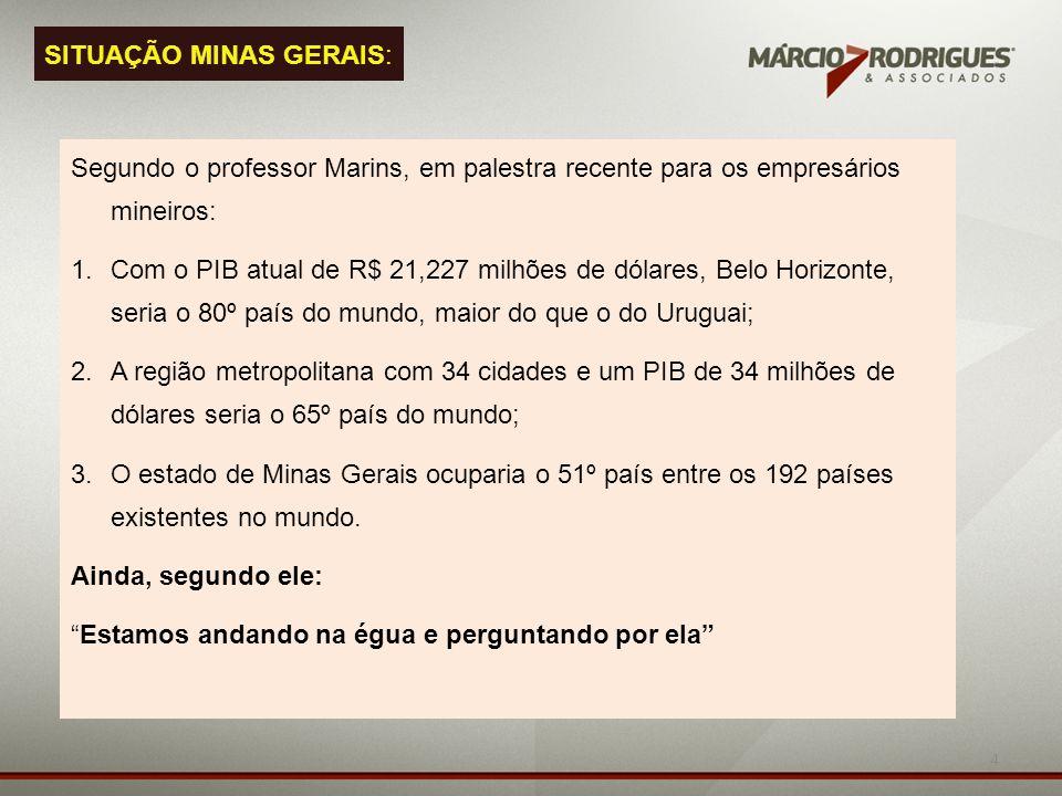 4 Segundo o professor Marins, em palestra recente para os empresários mineiros: 1.Com o PIB atual de R$ 21,227 milhões de dólares, Belo Horizonte, ser