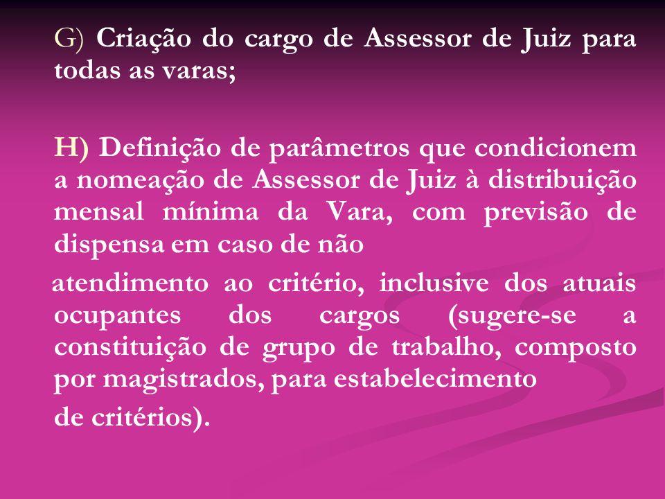 G) Criação do cargo de Assessor de Juiz para todas as varas; H) Definição de parâmetros que condicionem a nomeação de Assessor de Juiz à distribuição