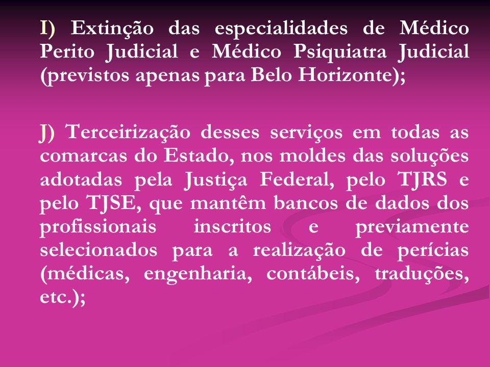 I) Extinção das especialidades de Médico Perito Judicial e Médico Psiquiatra Judicial (previstos apenas para Belo Horizonte); J) Terceirização desses