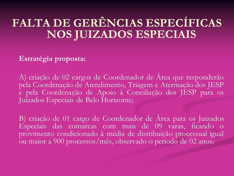 FALTA DE GERÊNCIAS ESPECÍFICAS NOS JUIZADOS ESPECIAIS Estratégia proposta: A) criação de 02 cargos de Coordenador de Área que responderão pela Coorden