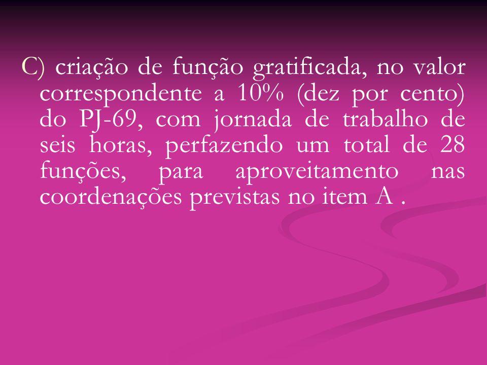 C) criação de função gratificada, no valor correspondente a 10% (dez por cento) do PJ-69, com jornada de trabalho de seis horas, perfazendo um total d