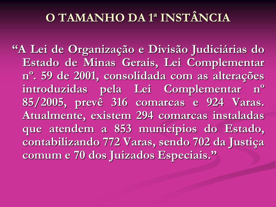 O TAMANHO DA 1ª INSTÂNCIA A Lei de Organização e Divisão Judiciárias do Estado de Minas Gerais, Lei Complementar nº. 59 de 2001, consolidada com as al