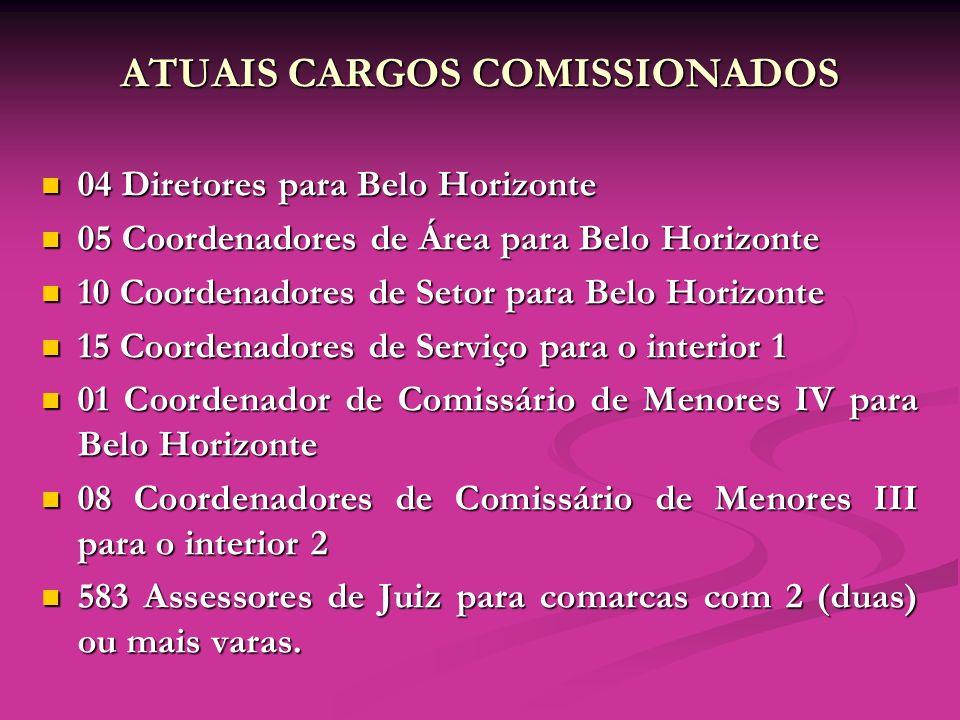 ATUAIS CARGOS COMISSIONADOS 04 Diretores para Belo Horizonte 04 Diretores para Belo Horizonte 05 Coordenadores de Área para Belo Horizonte 05 Coordena