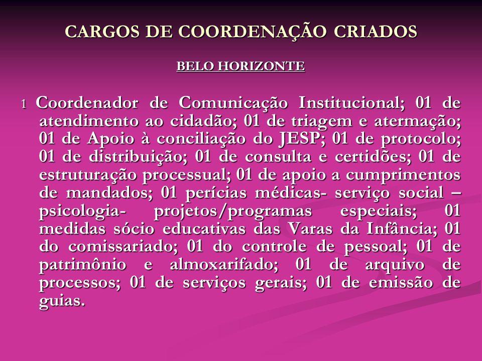 CARGOS DE COORDENAÇÃO CRIADOS BELO HORIZONTE 1 Coordenador de Comunicação Institucional; 01 de atendimento ao cidadão; 01 de triagem e atermação; 01 d