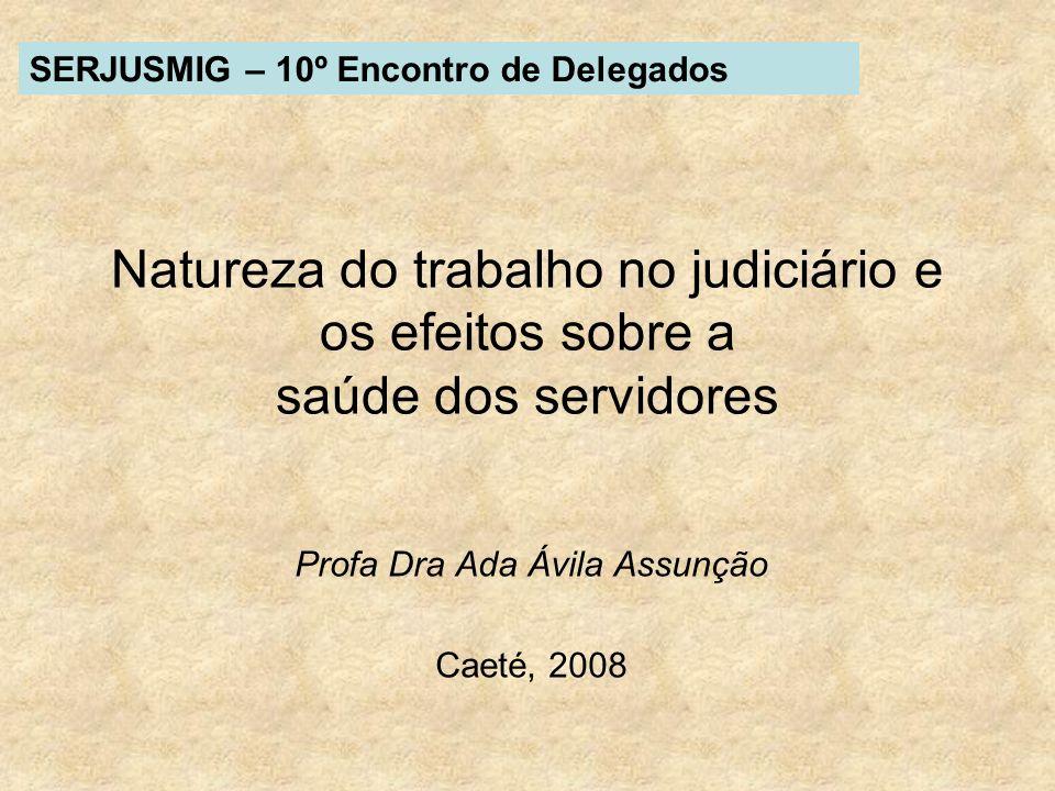 Natureza do trabalho no judiciário e os efeitos sobre a saúde dos servidores Profa Dra Ada Ávila Assunção Caeté, 2008 SERJUSMIG – 10º Encontro de Dele