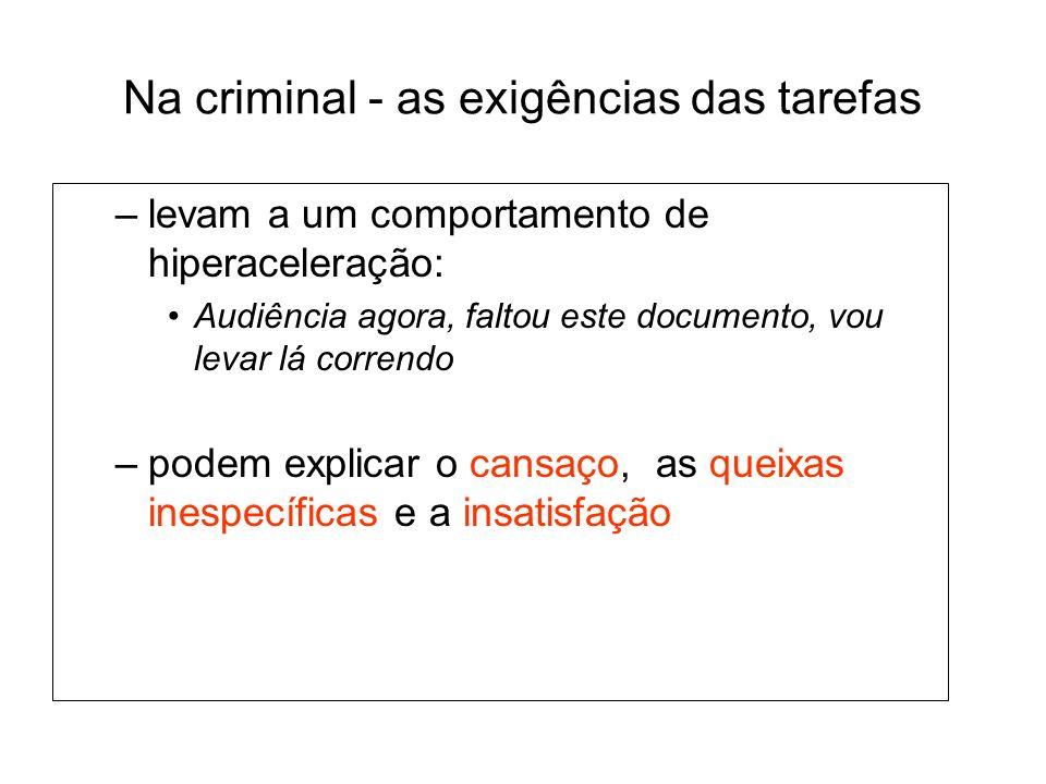 Na criminal - as exigências das tarefas –levam a um comportamento de hiperaceleração: Audiência agora, faltou este documento, vou levar lá correndo –p