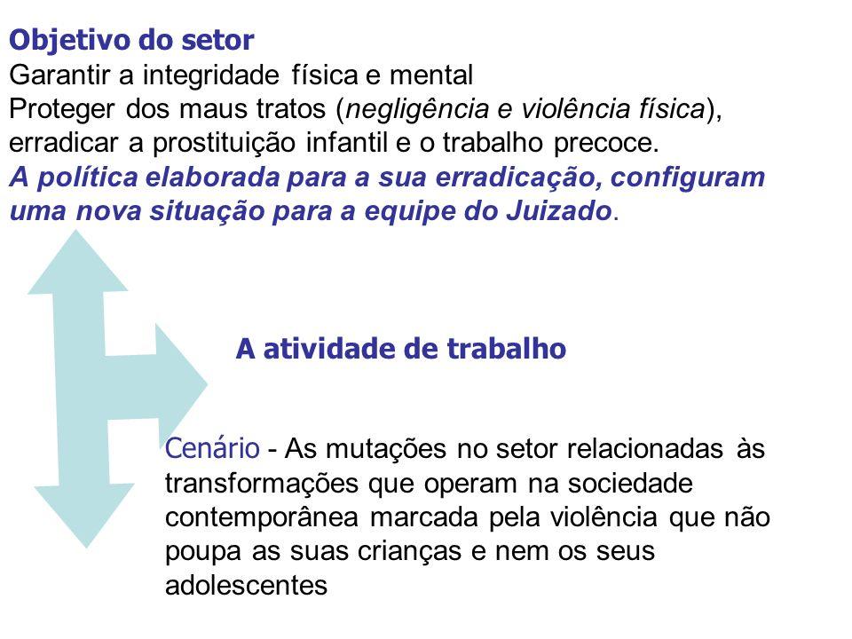 Objetivo do setor Garantir a integridade física e mental Proteger dos maus tratos (negligência e violência física), erradicar a prostituição infantil