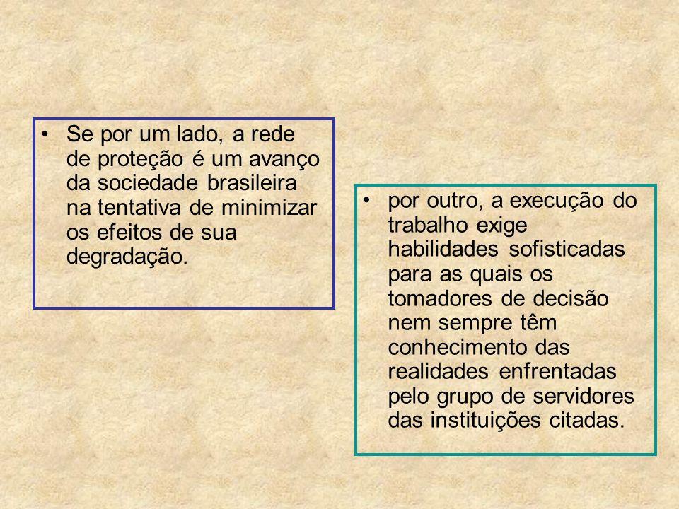 Se por um lado, a rede de proteção é um avanço da sociedade brasileira na tentativa de minimizar os efeitos de sua degradação. por outro, a execução d