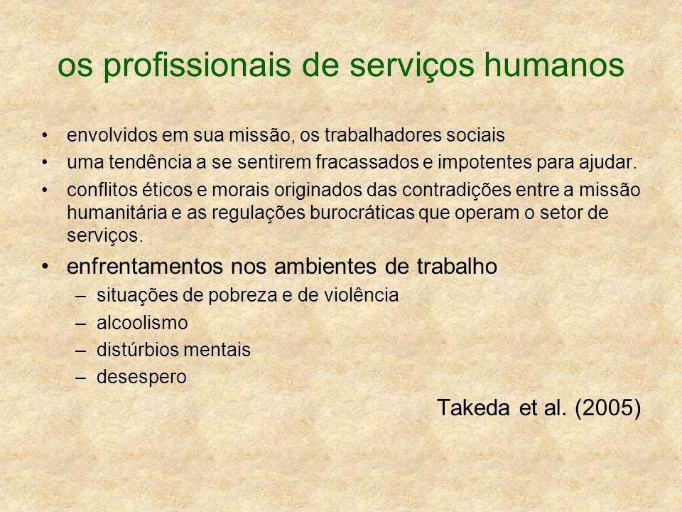 os profissionais de serviços humanos envolvidos em sua missão, os trabalhadores sociais uma tendência a se sentirem fracassados e impotentes para ajud