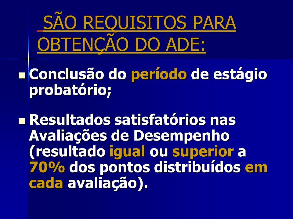 SÃO REQUISITOS PARA OBTENÇÃO DO ADE: Conclusão do período de estágio probatório; Conclusão do período de estágio probatório; Resultados satisfatórios