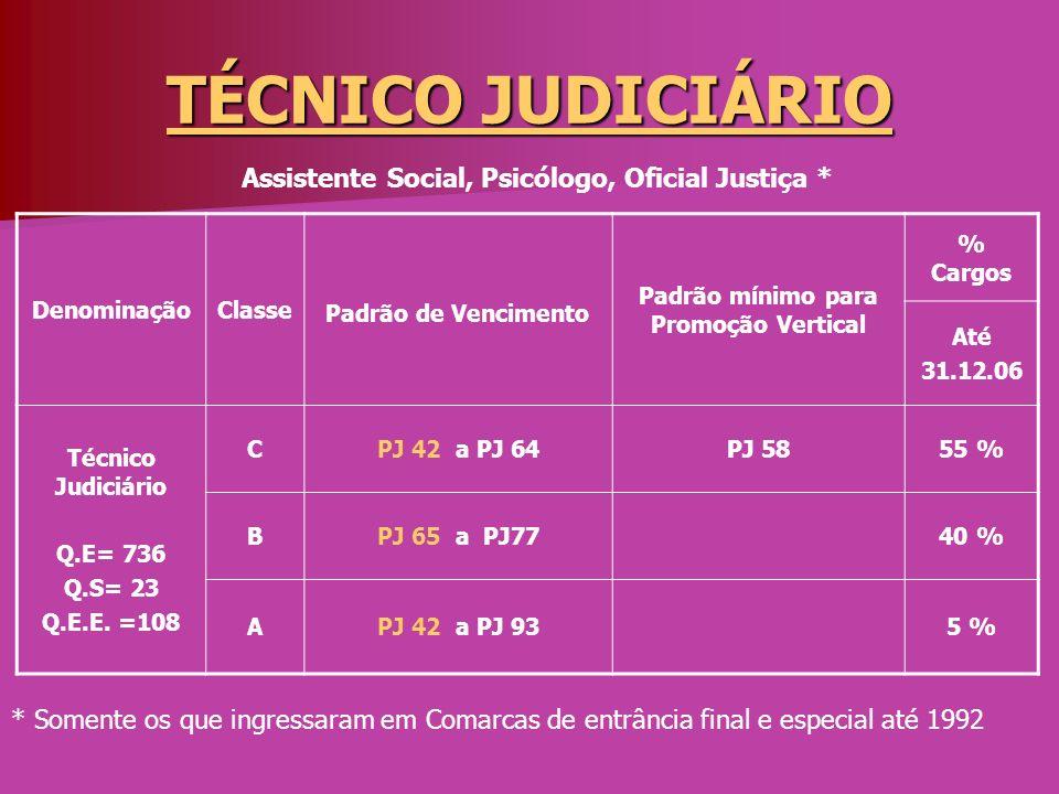 TÉCNICO JUDICIÁRIO DenominaçãoClasse Padrão de Vencimento Padrão mínimo para Promoção Vertical % Cargos Até 31.12.06 Técnico Judiciário Q.E= 736 Q.S=